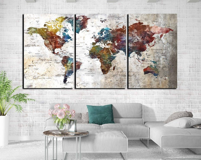 Large world map wall art canvas print ready to hang, push pin map, world map large, world map art print, world travel map, world map print