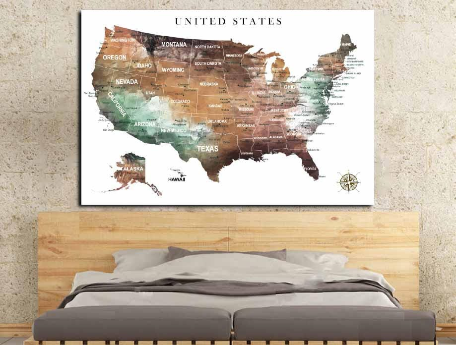 US Map Wall Art,US Pushpin Map,US Adventure Map,United States Canvas ...