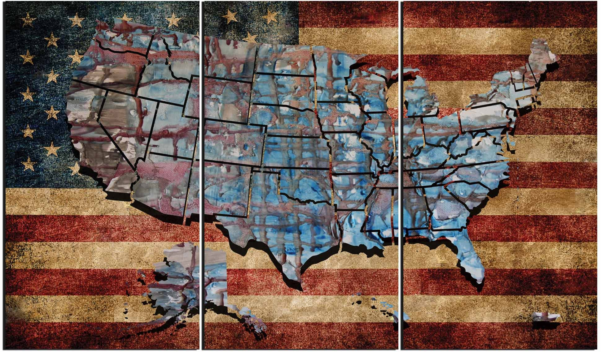 Usa Flag Wall Art Us Flag And Map Art Us Flag Canvas United States