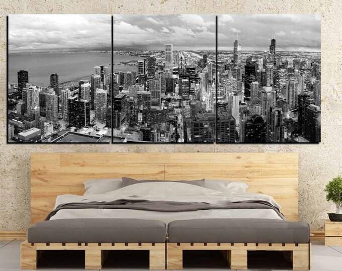 Chicago Skyline,Chicago City Art,Chicago City Canvas Panels,Chicago Black and White Art Print,Chicago City Skyline Wall Art,Chicago Wall Art