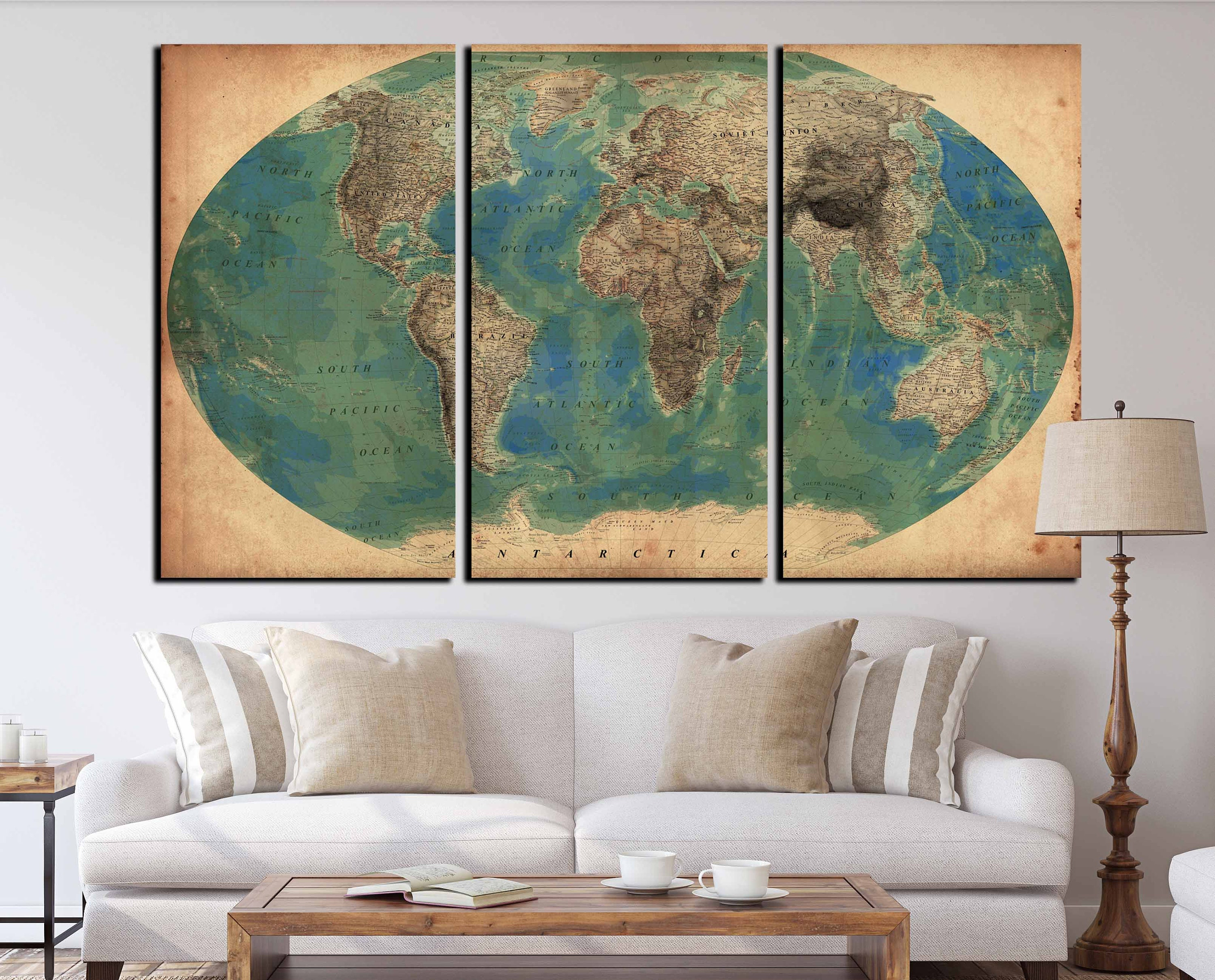 Very detailed vintage world map set of 3 canvas print world map very detailed vintage world map set of 3 canvas print world map vintage antique world map vintage world map canvas art print old world gumiabroncs