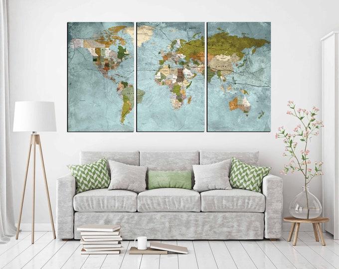 world map large, world map canvas, world map print, world map art, world map wall art, large map print, world map push pin, push pin map art