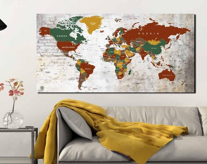 Push Pin World Map,World Map Wall Art,World Map Canvas,Large World Map ,Travel Map,Travel Map Print,World Map Art,World Map Print,Travel Map
