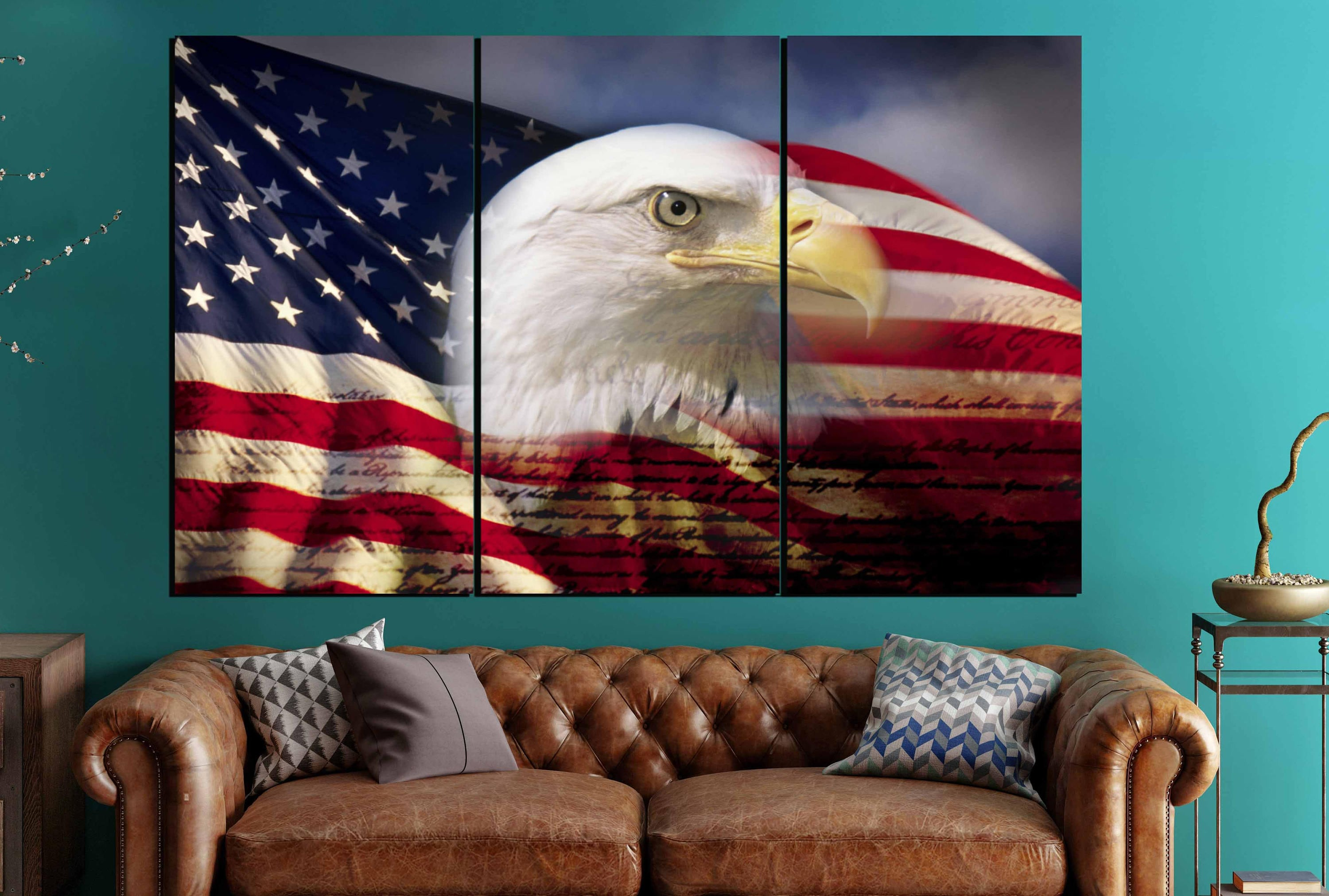 US Flag With Eagle Wall Art Large Canvas Panels,US Flag Wall Art,US Flag Art ,American Flag Wall Art,American Flag Canvas,Us Flag Canvas,Flag