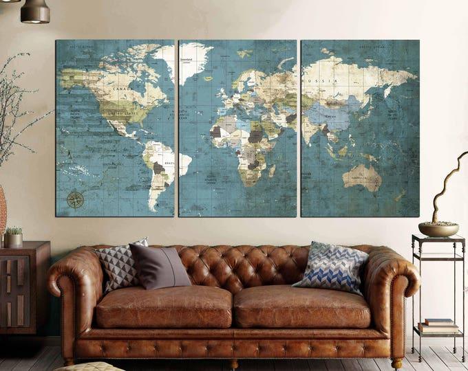 Large World Map Vintage Canvas Print,World Map Wall Art,World Map Push Pin,World Travel Map,World Map Vintage,World Map Canvas,Political Map