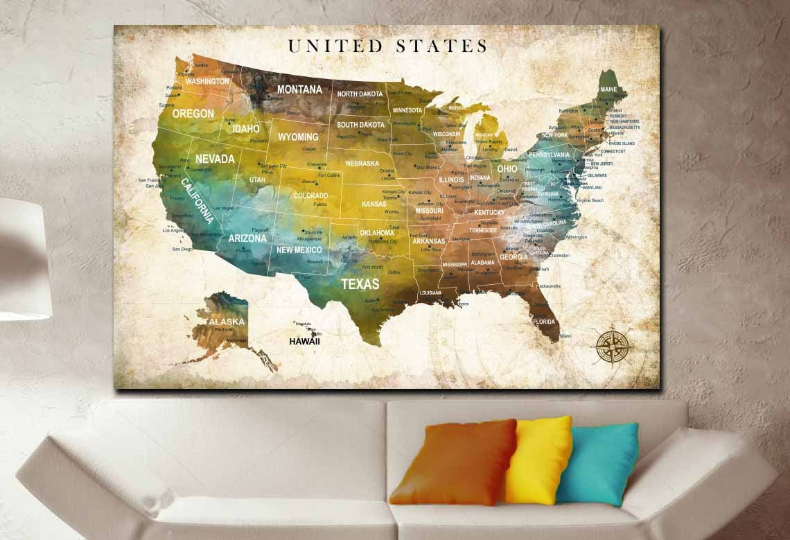 United States Map Canvas Wall Art.Us Map Us Push Pin Map Us Travel Map United States Map Art United