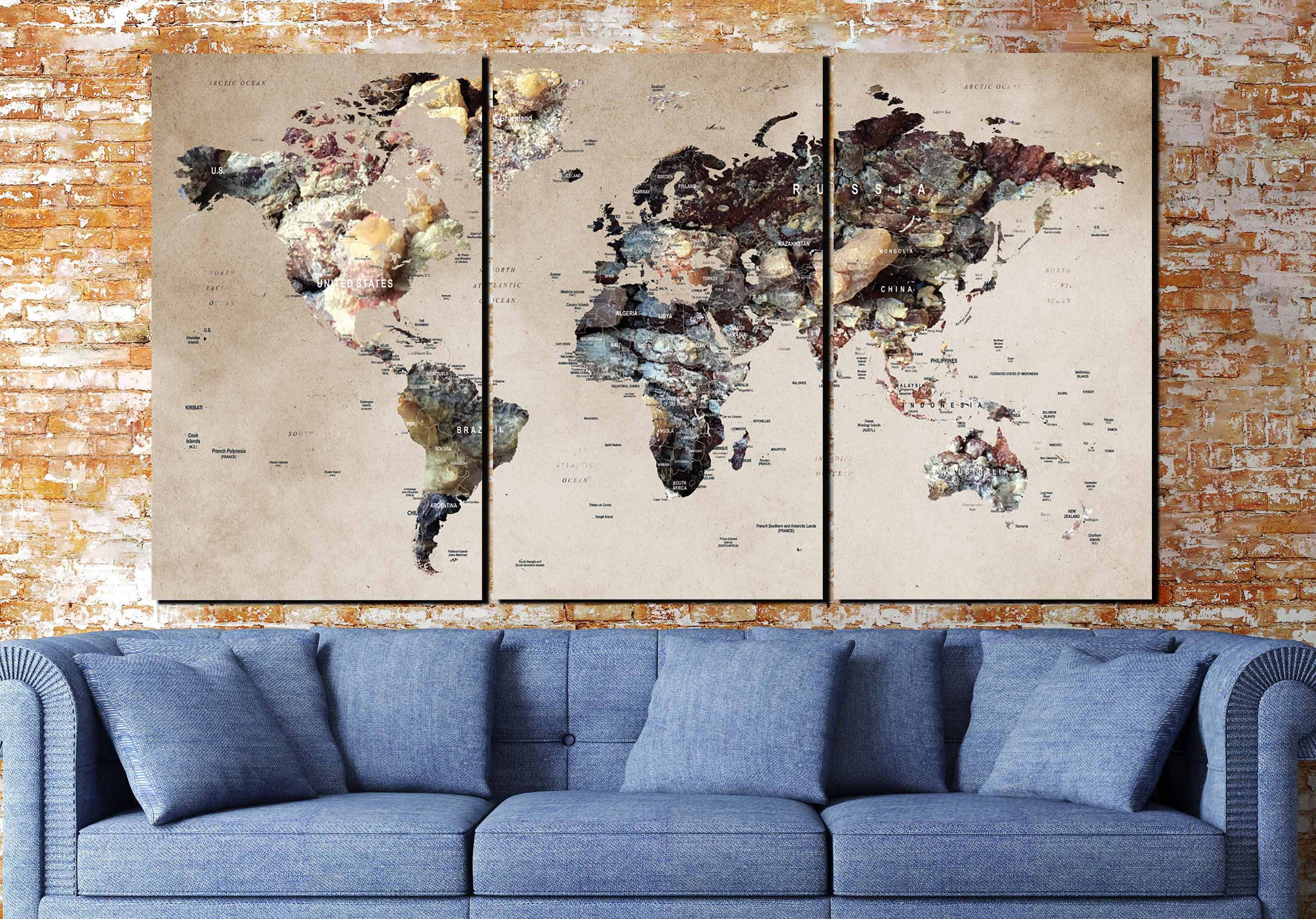 World map canvaslarge world mapworld map artworld map 3 panels world map canvaslarge world mapworld map artworld map 3 panelsworld map abstractmap art canvastravel map canvaspush pin mapwall art gumiabroncs Choice Image