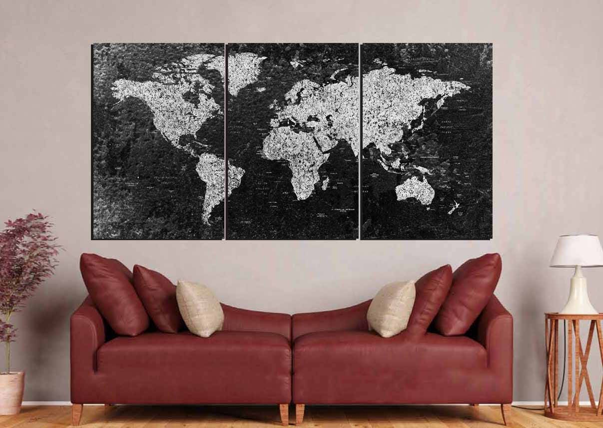 World Map Large Black And White World Map World Map Canvas