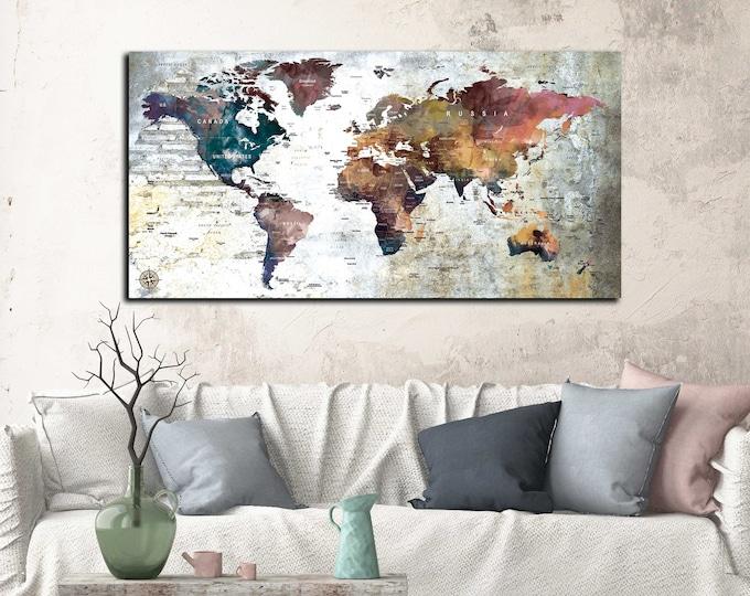 World map single panel, world map canvas ready to hang, world travel map, push pin map canvas print, travel map push pin, world map art