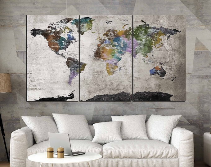 Highly Detailed World Map Wall Art,Large World Map, World Map Canvas,Abstract World Map,3 Panel Wall Art Map,Vintage World Map,Abstract Map