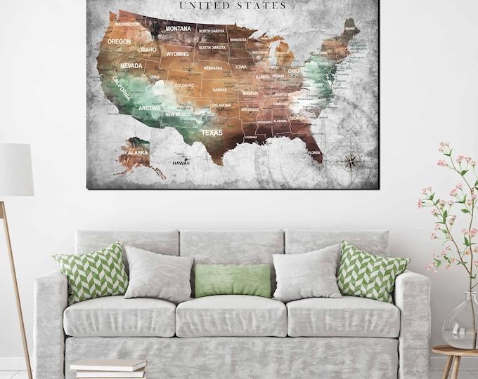 US Map Wall Art,US Pushpin Map,US Adventure Map,United States Canvas Map,America Map Art,Adventure Map Poster,United States Poster,Map Art