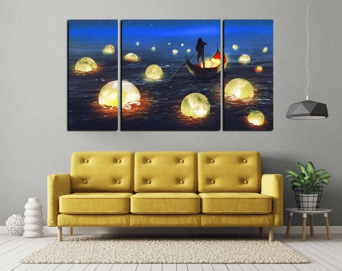 moon wall art, man catching moon art, moon digital painting art print, moon art, moon print, moon art print, kids room art, nursery room art