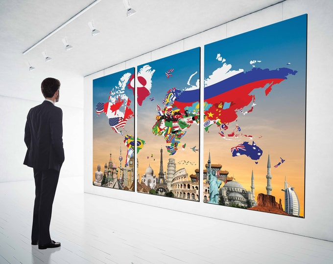 World Flag Map with Landmarks, World map flags,World map art, world map wall art, world map flag art, world map canvas, world map flag print