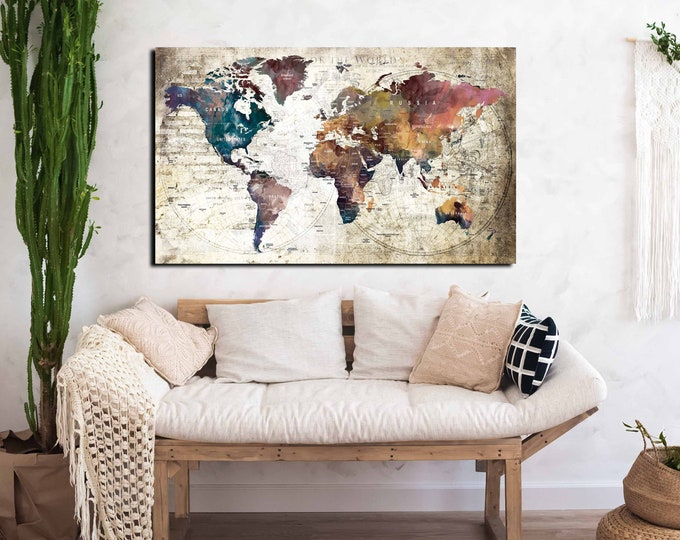 Large world map canvas print ready to hang, world map canvas, world map art, world travel map, pushpin map print, world map art watercolor