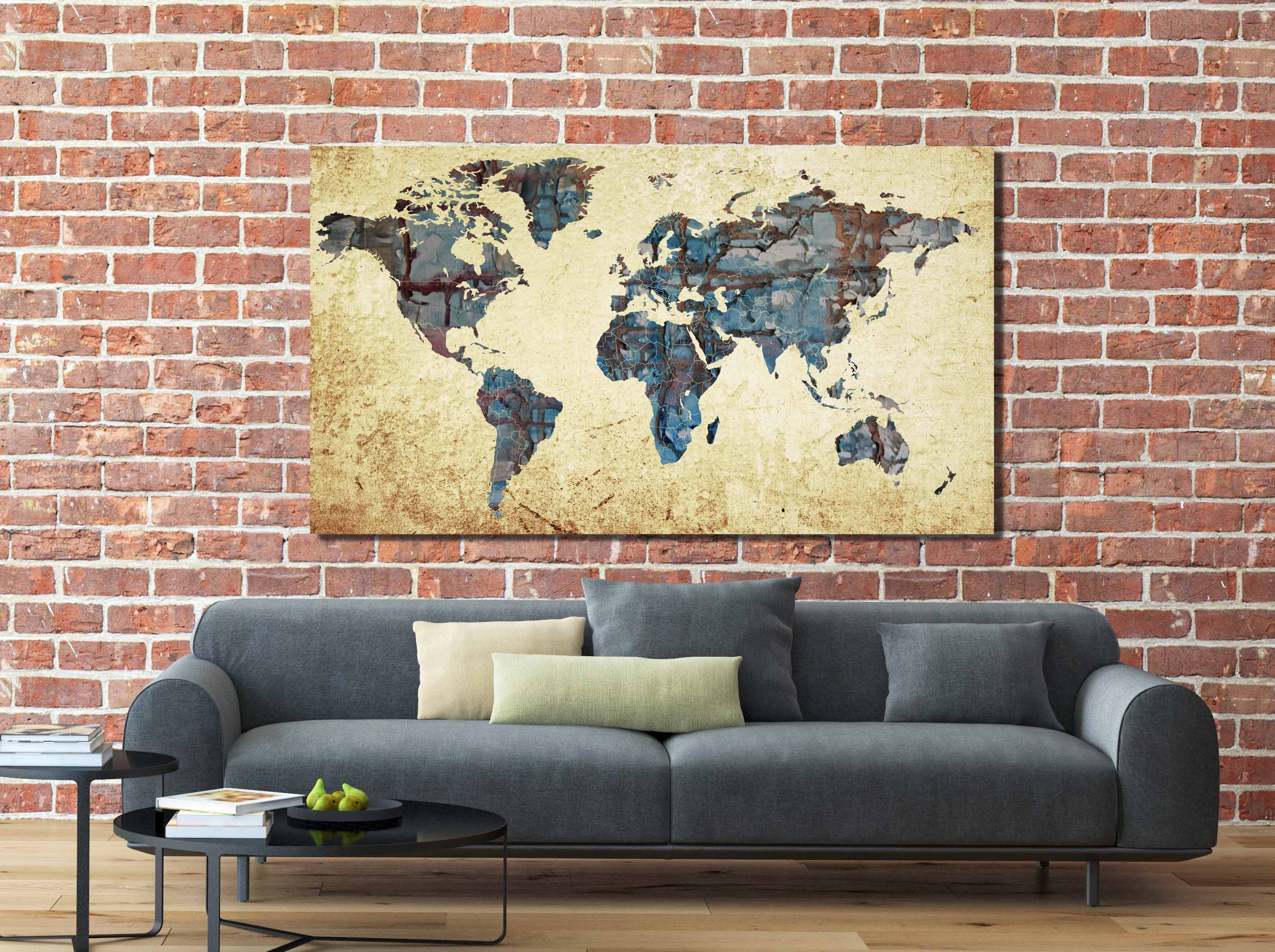 Decorative World Map Poster.Large World Map World Map Abstract Map Wall Art World Map Painting