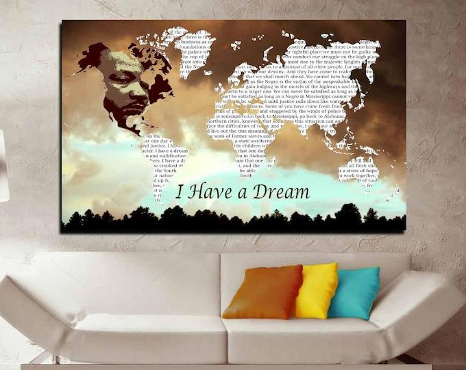 Martin Luther King Wall Art,Speech Map Poster,I Have a Dream Map Art,MLK I have a Dream Speech Art,Speech Map Poster,M Luther King Poster
