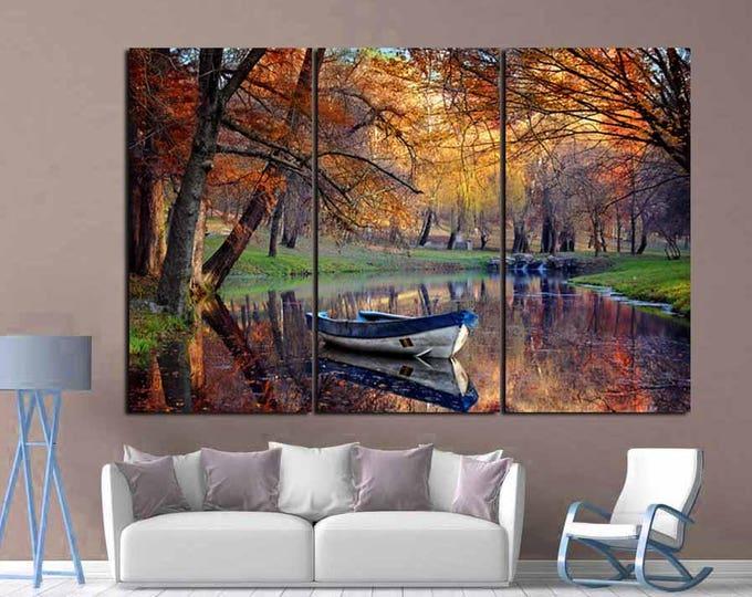 Nature Wall Art,Season Fall Art.Fall Season Art,Fall Canvas Art,River and Boat Wall Art,Nature Photo Canvas Print, Seasons Wall Art,Interior