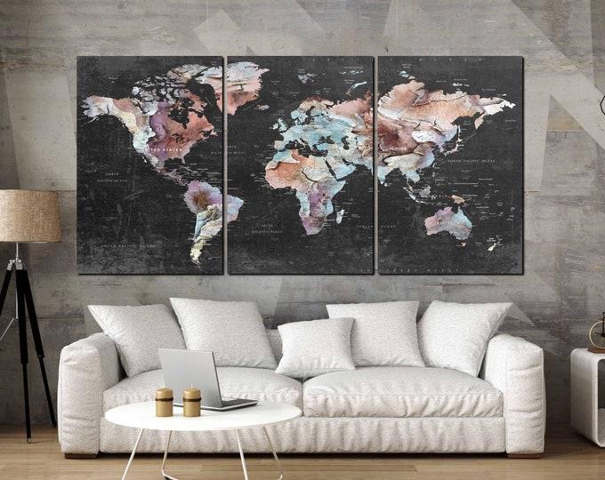 world map canvas art print large, push pin map art canvas print, large 3 panel world map art abstract, world travel map art print, map print