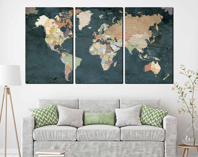 World Map Wall Art,World Map Canvas,Large World Map Print,Large World Map,Large Travel Map,Push Pin World Map,World Map Push Pin,Map Art