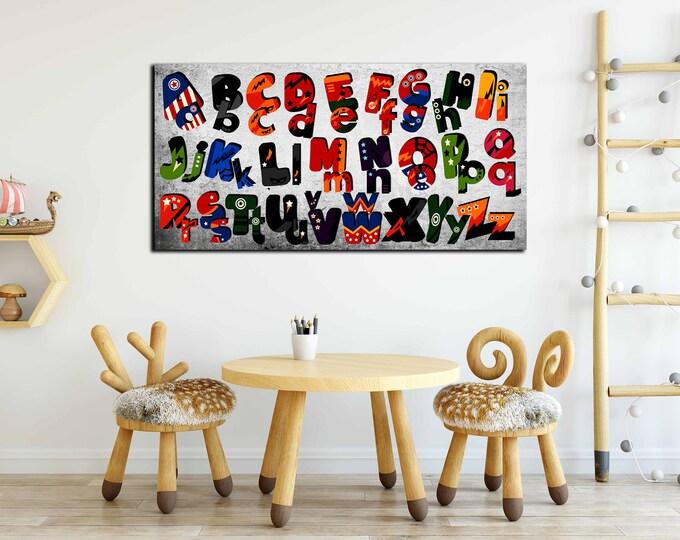 Superheros Alphabet Wall Art,Superhero Alphabet,Colorful Alphabet,Kids Room Art,Nursery Room Art,Kid's Room Poster,Superhero Poster,Alphabet