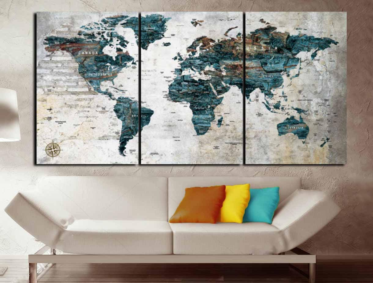 World mapcustom world maplarge world map wall art custom canvas world mapcustom world maplarge world map wall art custom canvas printcustom mappersonalized canvas artcustom artworld map office art gumiabroncs Images