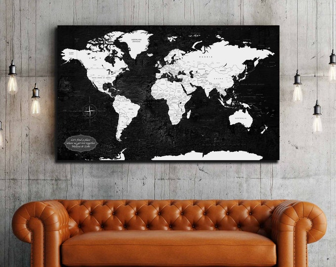 World map single panel black and white canvas print, world map art detailed country and city names, world map art print, push pin map canvas
