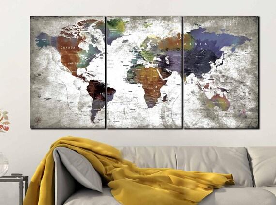 3 Piece Canvas World Map.World Map Canvasworld Map 3 Panel Canvas Print World Map Etsy