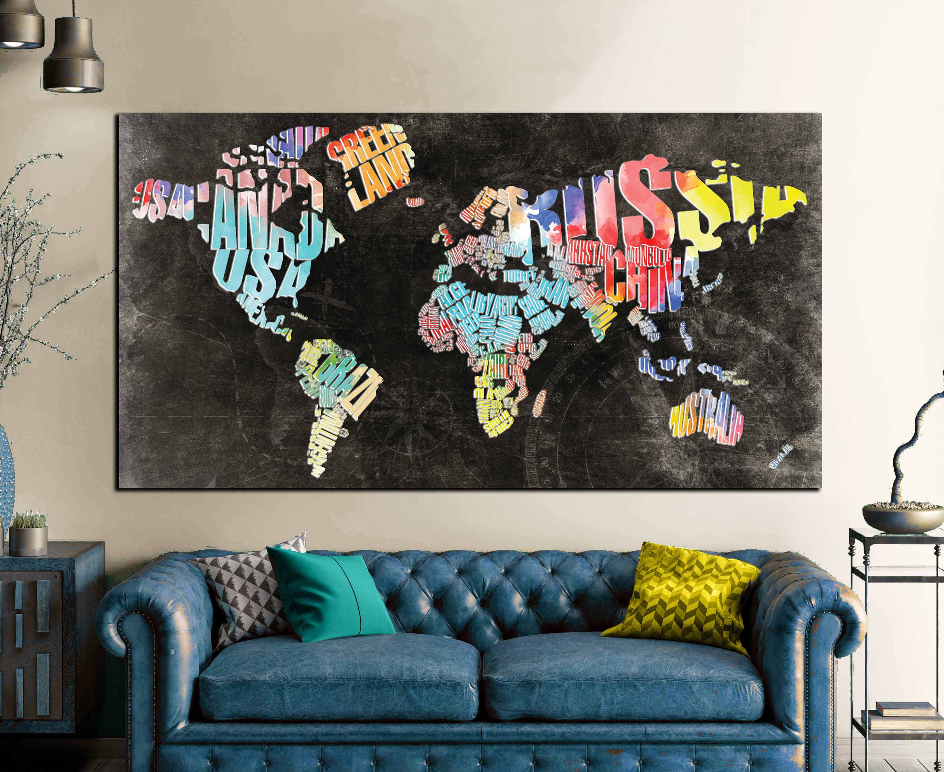Typographic World Text Map,World Map Abstract Wall Art Canvas Print ...