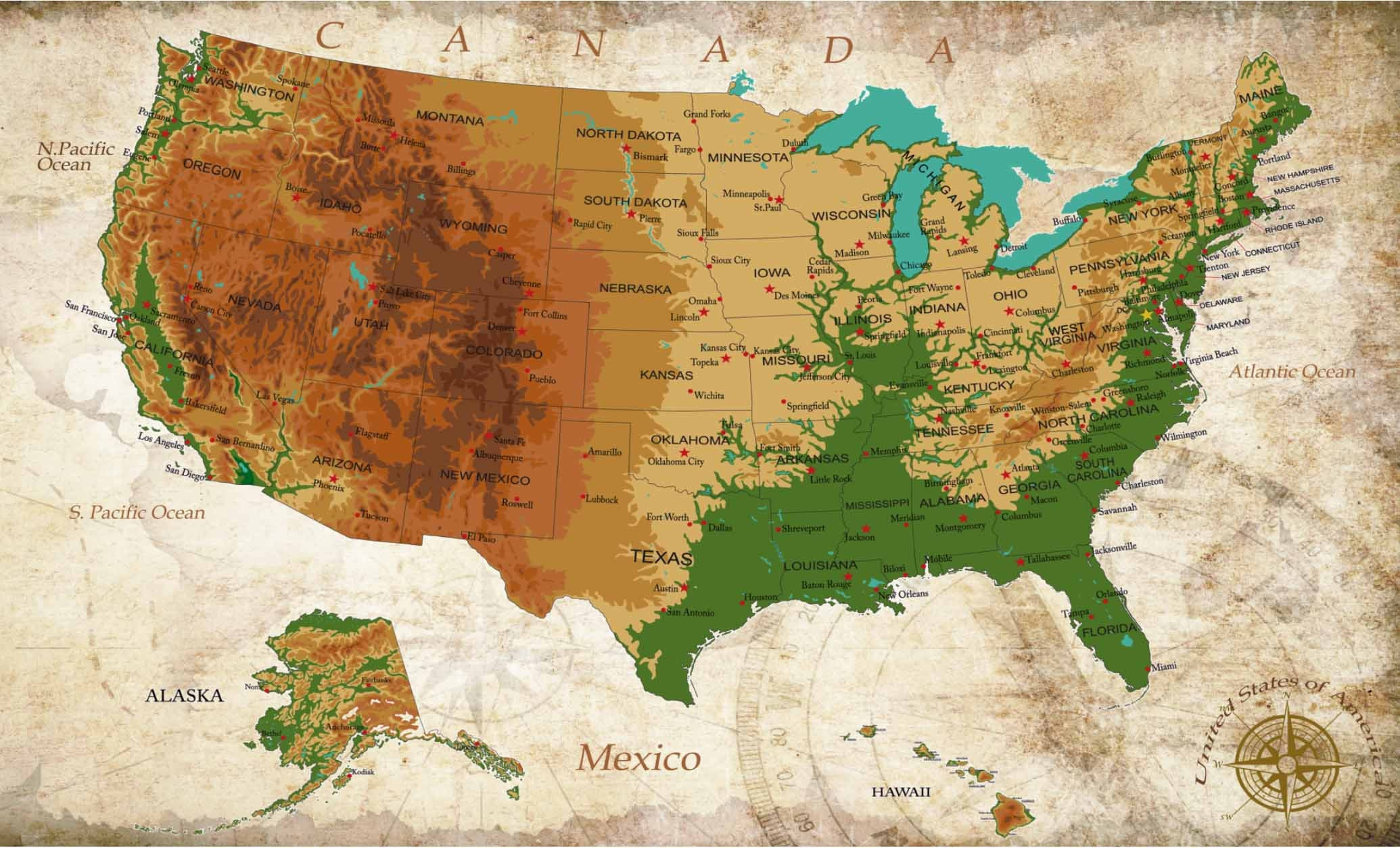 USA Map,US Map, US Physical Map,Us Map Detailed,Us Map Wall ...