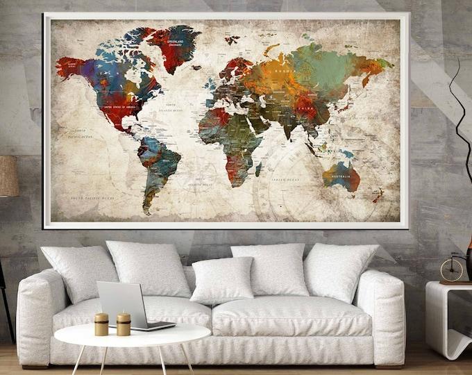World Map Large Poster Print,World Map Wall Art,World Map Art, Push Pin Map Poster,Push Pin Map,World Map Wall Decal,World Map Print,Map Art