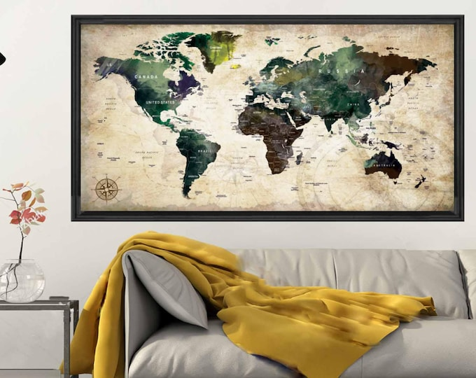 World Map Poster,Push Pin Map Poster,Push Pin World Map,World Map Travel,World Map Wall Decal,Large World Map,World Map Watercolor,World Map