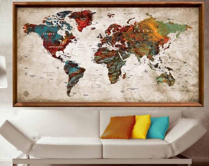 Large World Map Poster,World Map Wall Art,World Map Push Pin,Push Pin Map Art,Travel Map Poster,Push Pin Map Poster,World Map Decal,Abstract