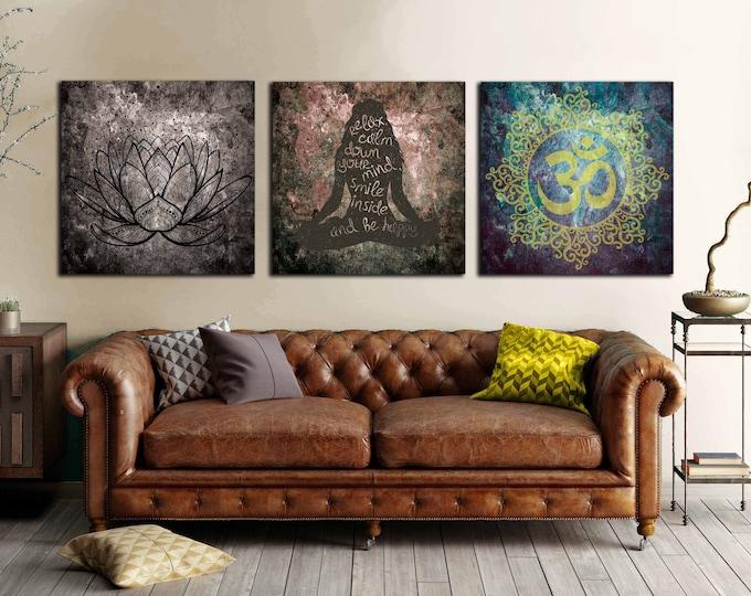 Yoga art 3 panel canvas print, Yoga wall art, Yoga chakra meditation canvas print, yoga print yoga art canvas, yoga artwork, yoga wall decor