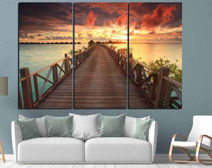 Beach Sunset Wall Art,Sunset Beach Canvas Art,Beach Sunset Print,Beach Sunset Photography,Beach Sunset Photo Print,Wooden Bridge Beach Art
