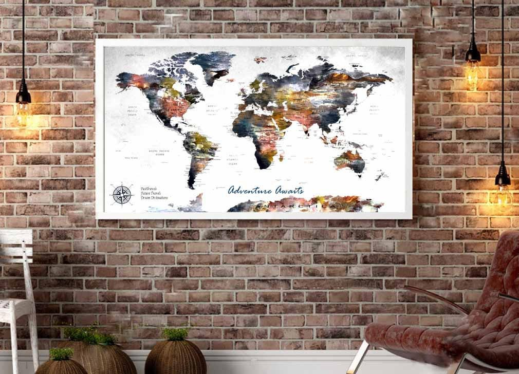 Highly detailed push pin map canvas printpush pin map large canvas highly detailed push pin map canvas printpush pin map large canvas panelworld map wall artpersonalized world mapcustom travel map canvas gumiabroncs Gallery