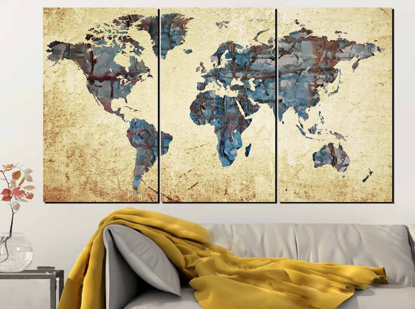 Large World Map,World Map Abstract, Map Wall Art, World Map Painting ...