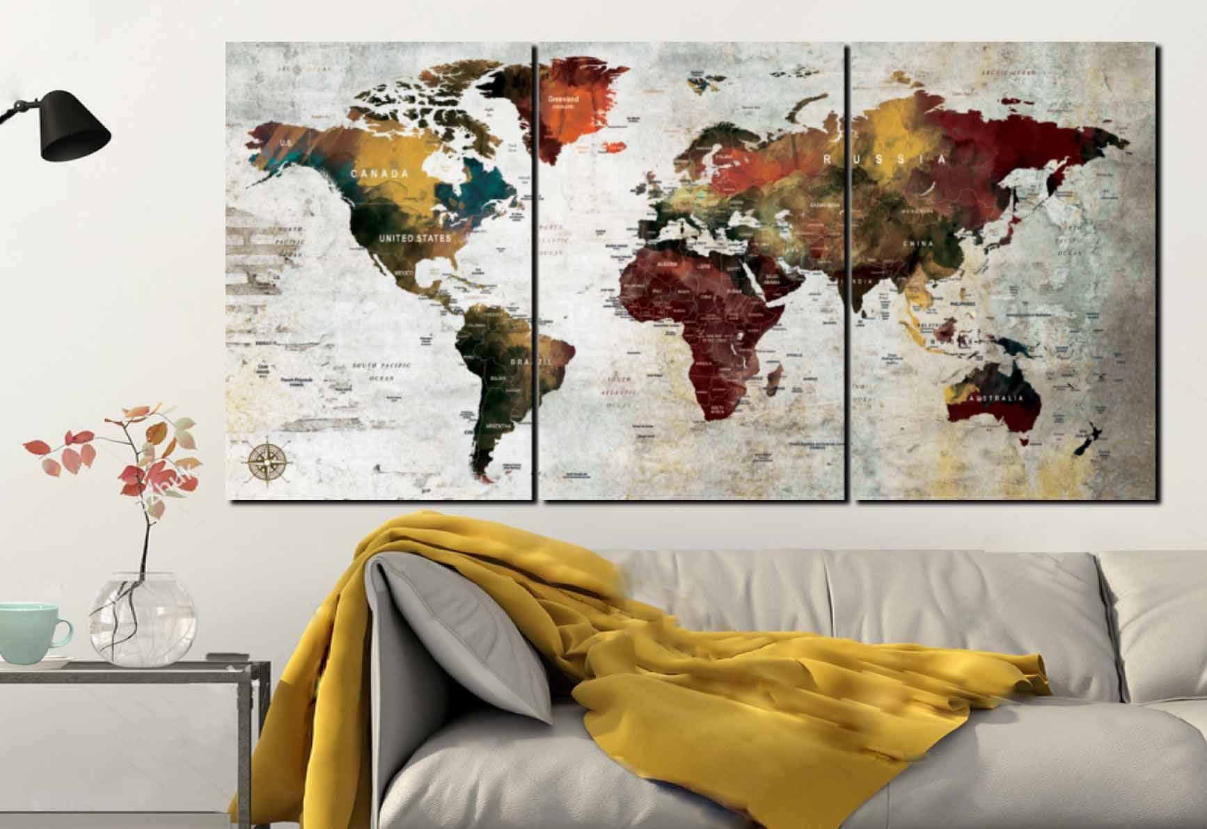 Large 3 Panel World Map Canvas Art,World Map[,World Map Wall Art