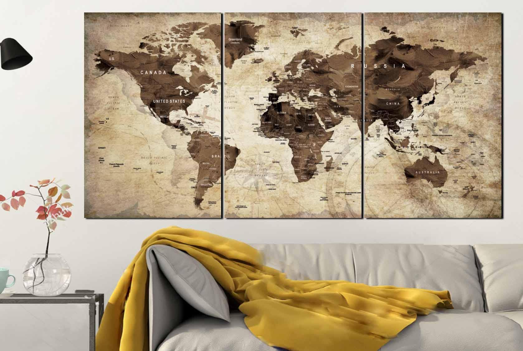 World Map World Map Vintage Vintage Map Art World Map Wall Art World