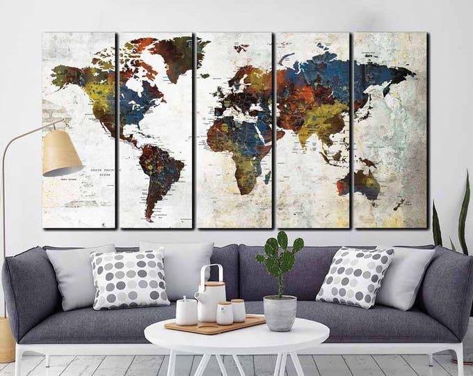 5 Panel World Map,World Map Wall Art,World Map Large,World Map Push Pin,Travel Map,Push Pin Map,World Map Watercolor,World Map Abstract,