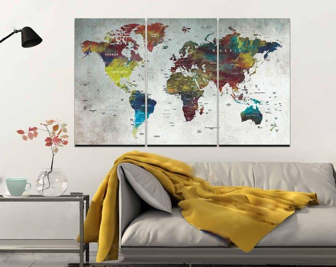 World Map,Map,Wall Art,Large World Map,Push Pin Map,Abstract World Map,Push Pin Map Canvas,Decorative Canvas Art,World Travel Map,Map Canvas