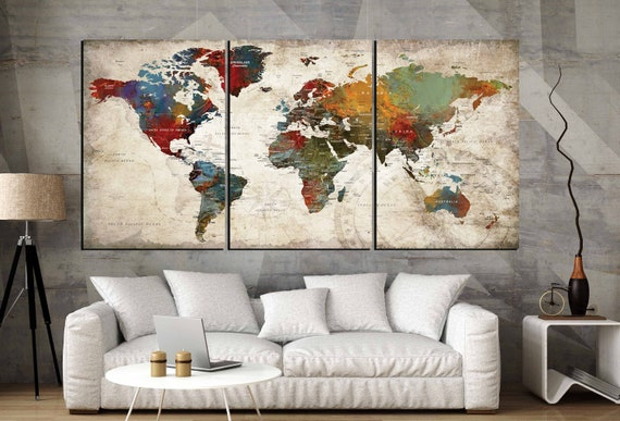 World Map Wall Art 3 Panel Canvas Artworld Map Large Canvas Etsy