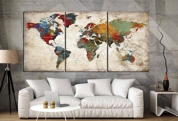 3 Piece Canvas World Map.World Map Wall Art 3 Panel Canvas Artworld Map Large Canvas Etsy