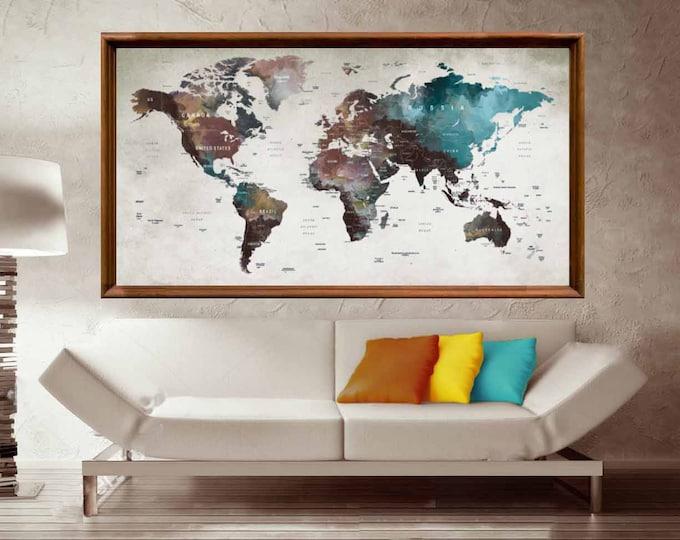 Large World Map Wall Art,World Map Poster,World Map Decal,World Map Large Print,World Map Print,World Map Canvas,World Map Art,World Map