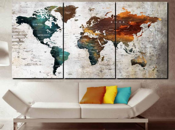 Large 3 Panel World Map Push Pin Wall Art World Map Canvas Art World Map Large Canvas World Map Art World Map Print World Map Abstract Art