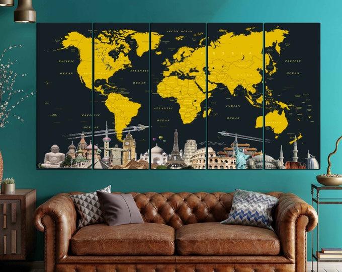 Large World Map Canvas Art,World Map,World Map Wall Art,World Map Canvas,Large World Map Print,Push Pin Map,World Map Travel,Detailed Map