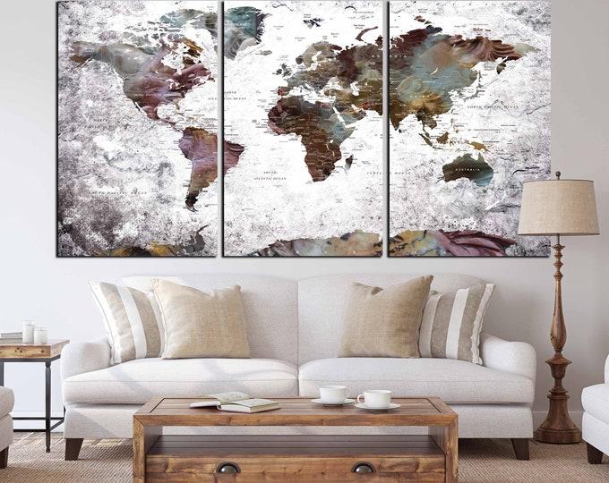 Unique design World Map set of 3 Large Canvas Print, World Map art print, world map wall art, world map canvas, pushpin map, home-office art