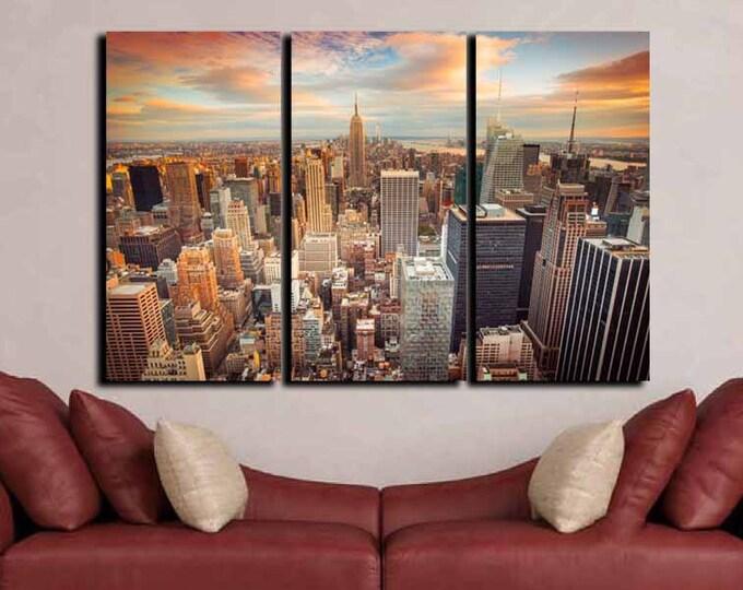 New York City Wall Art, New York Sunset,Large New York City Art, Living Room Wall Art, City Canvas Art,New York Canvas,New York City Skyline