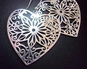Heart Filigree Sterling Silver Earrings, Dangle, Pierced, Large, Vintage