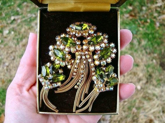 Green & AB Rhinestone Tassel Brooch Earring Set, O