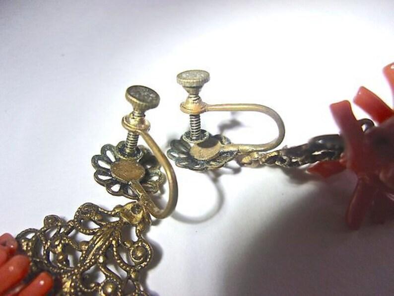 Coral Branch Brass Gilt Earrings Vintage Filigree Screw Backs Salmon Dangles